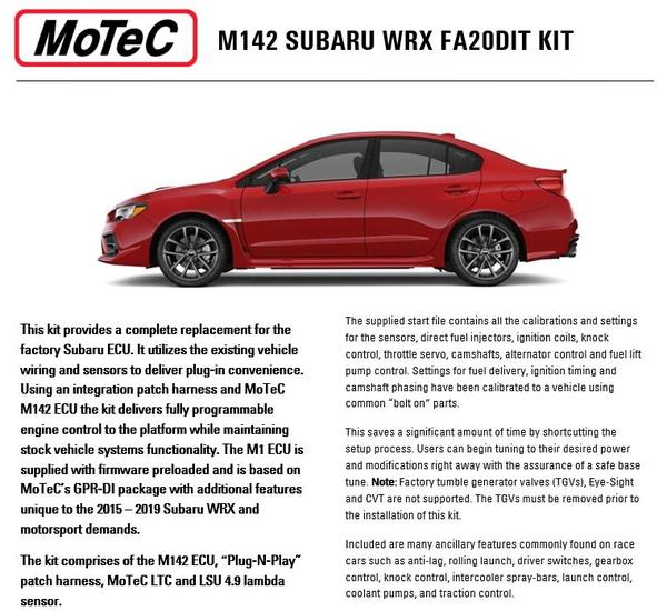 subaru wrx 2015 19 m142 kit fischer motorsports motec engine management systems subaru wrx 2015 19 m142 kit